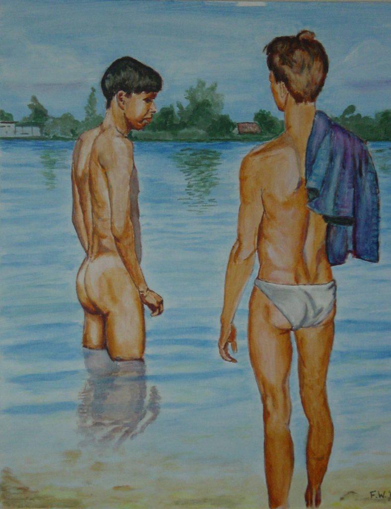 Twee jongens in het water