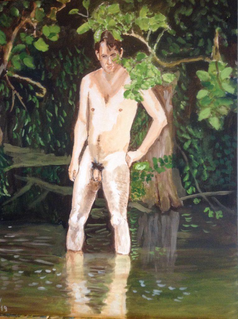 G.J. in het water
